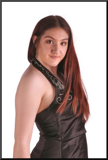 "Full length halter-neck evening dress,embroidered bodice, flared skirt, black, cream front panel, size 12 / 14, model height 5'7"""