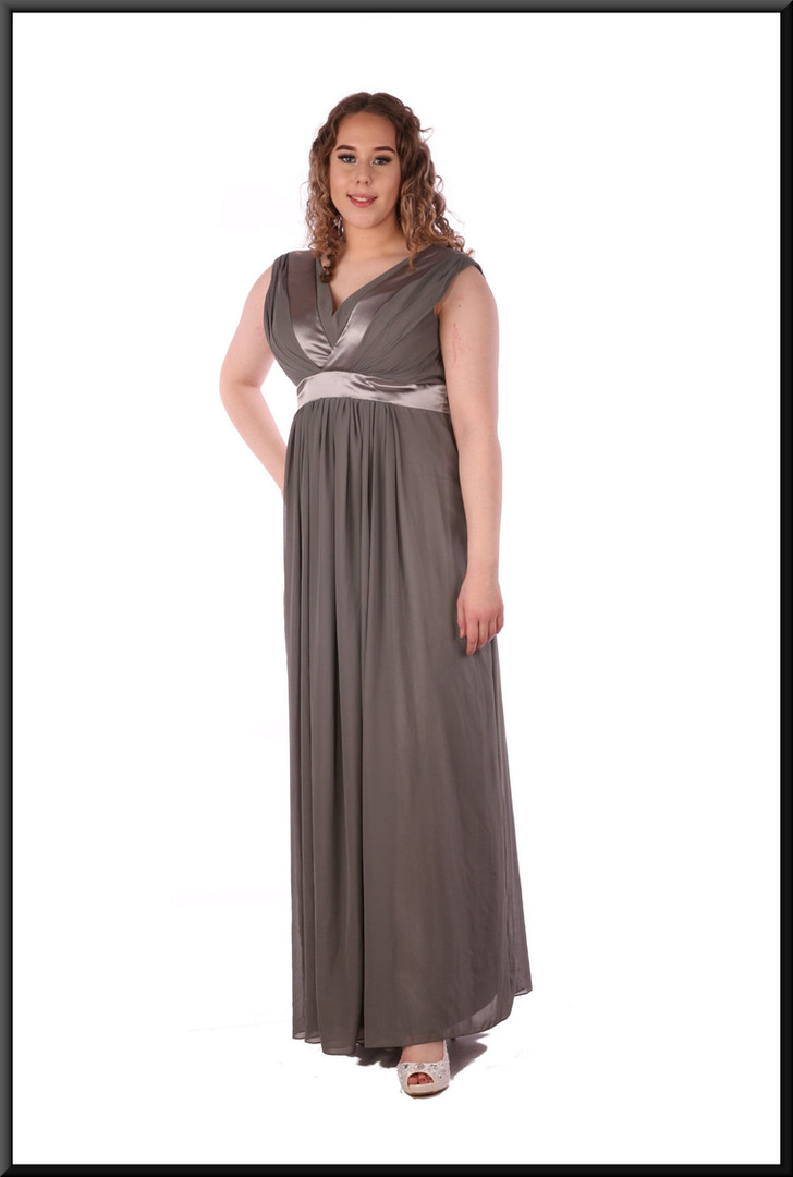 """Full length voile over satinette high waisted ankle length dress, size14in greenish grey. Model height 5'7"""""""