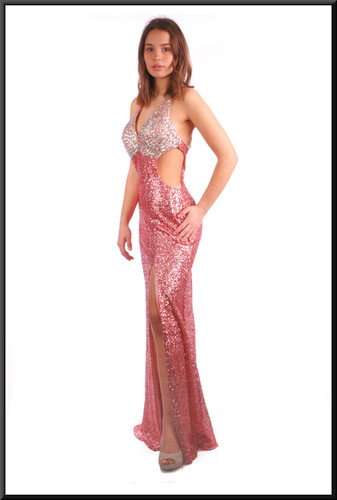 Full length sequinned sparkly low back and sides evening dress - pink and silver; model height 5'7""