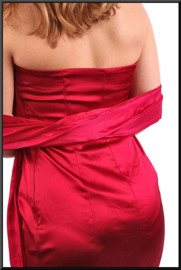 """Satinette strapless cocktail dress with drape - red, size 12. Model height 5'3"""""""