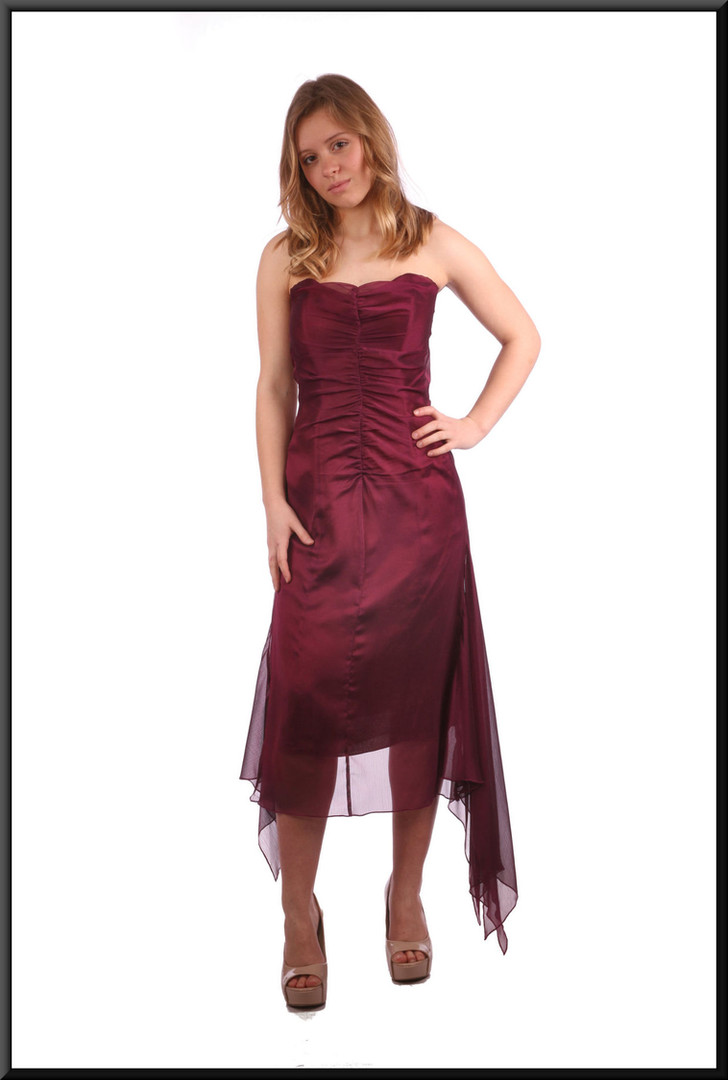 """Strapless calf length cocktail dress with net flares - burgundy; model height 5'3"""""""