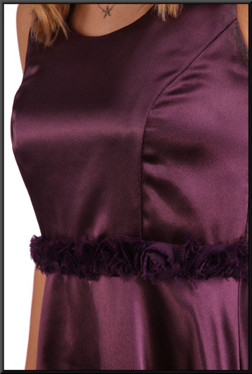 """Hand-made knee length double layer satinette bridesmaid / cocktail dress - plum, size 10. Model height 5'9"""""""