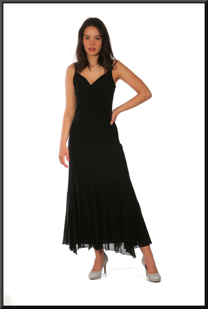 """Mid calf mesh net over polyester cocktail dress in black, size 10, model height 5'7"""""""