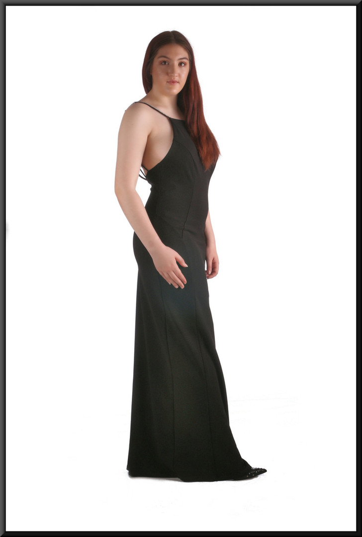 Full length split side evening dress with diamanté straps and plunging back, size 14, black