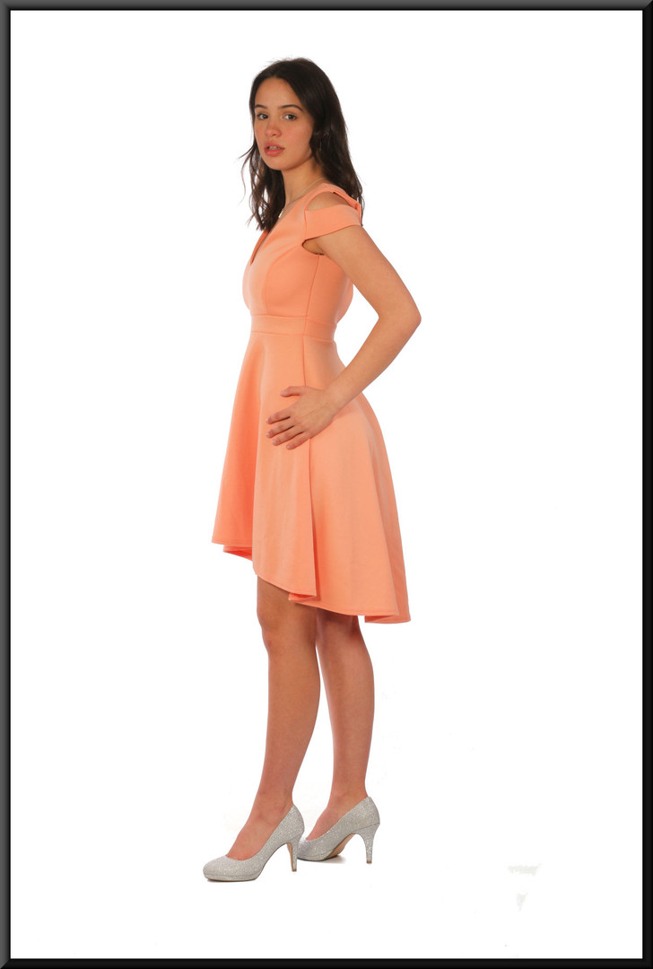 Variable length polyester cocktail dress, lobster pink, size 10, model height 5'7""