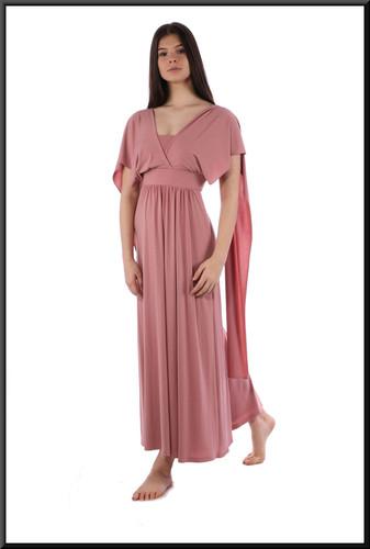 Simple Greek Oracle style mid-calf dress - dusky pink