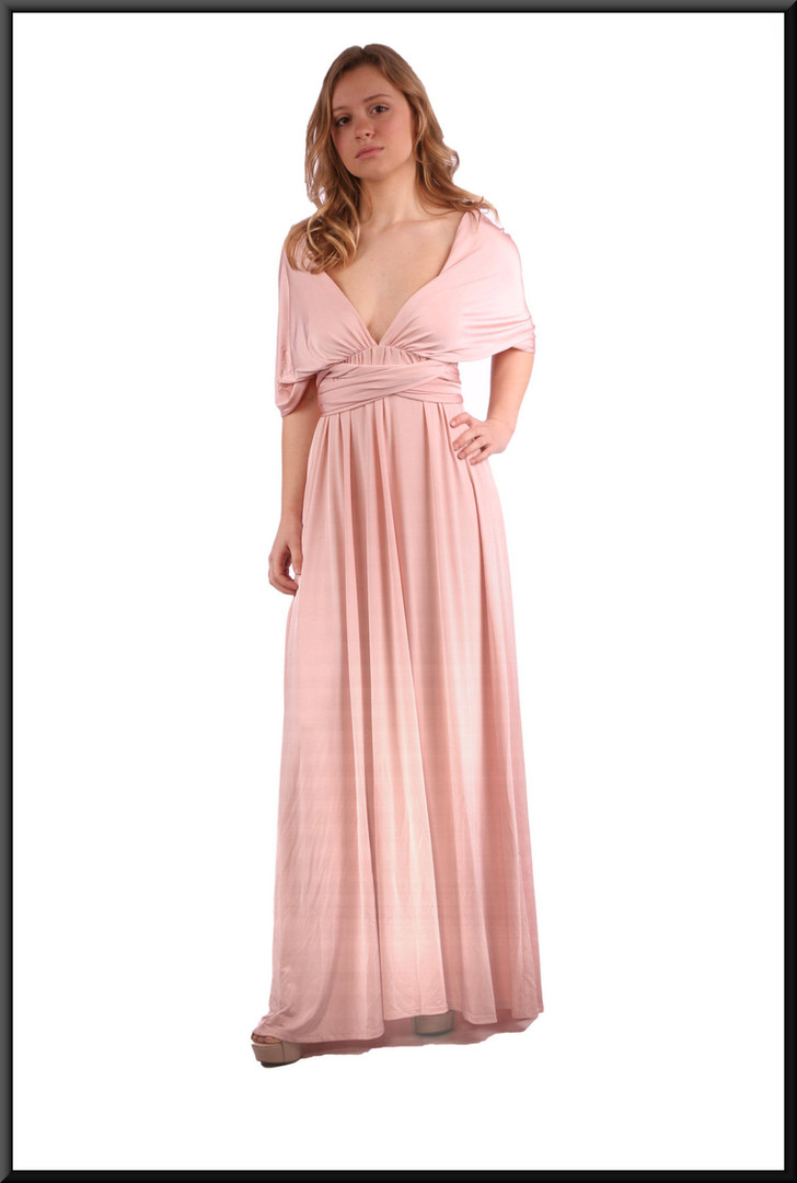"Full length backless classic evening dress, dusky pink; model height 5'3"""