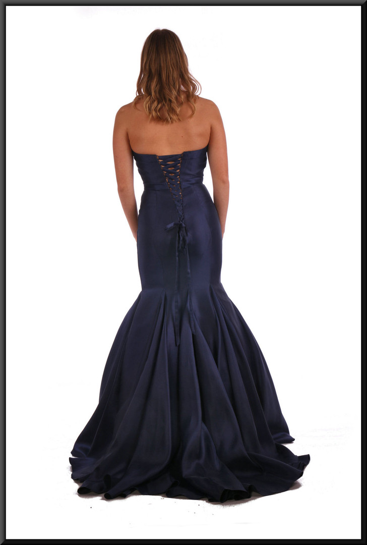 Jessica Rabbit style strapless flared evening dress with corset tie (US size 4) - navy blue, size 10  Model height 5'9""