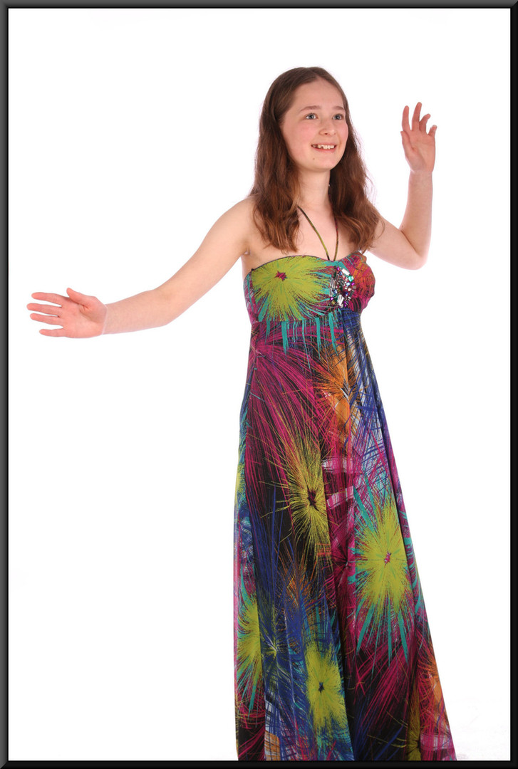 """Boho / Woodstock style ankle length chiffon over satinette summer cocktail dress - multi-coloured, size 8. Model height 5'6"""""""