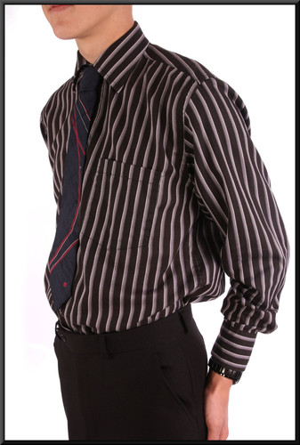 Men's shirt collar 15 - blue with light stripes