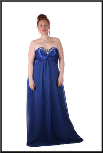 Satin strapless full length with corset tie back and net skirt  - royal blue