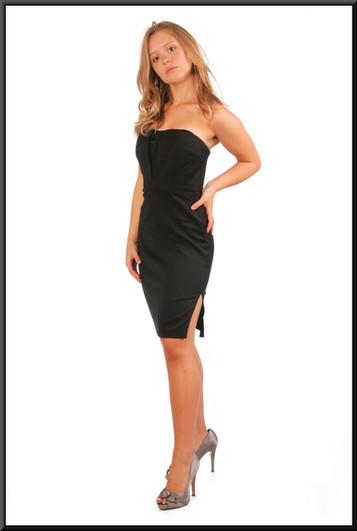 """Strapless cocktail mini dress with splits both sides in black, size 10 (US 6), model height 5'5"""""""