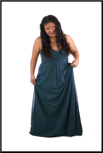 """Full length chiffon over satinette evening dress with ruched bodice - teal, size 18 (marked US 14); model height 5'2"""""""