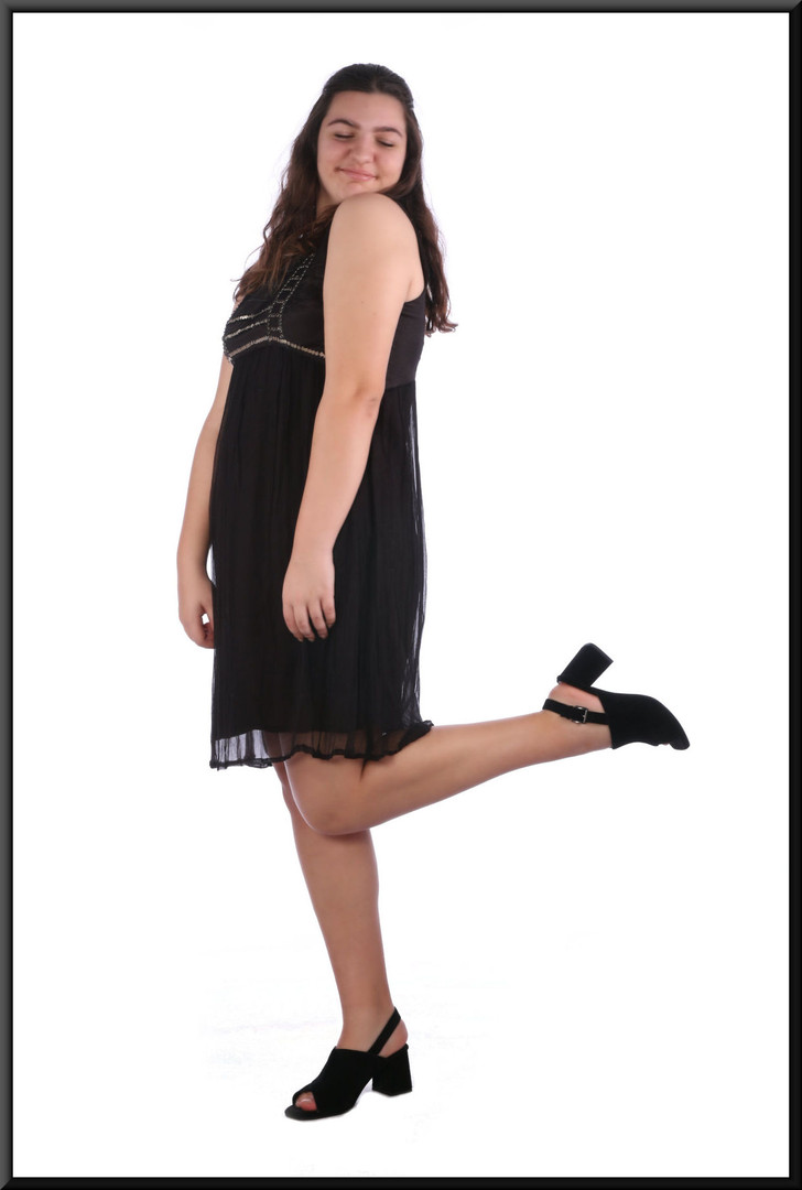 Satinette mini dress with chiffon over-skirt marked EU size 44 - black, size 16; model height 5'8""