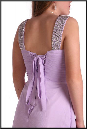 Full length polyester chiffon bridesmaid dress with satin underskirt and rear bow, size 8 in lilac.  Model height 5'5""