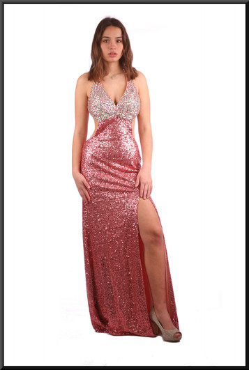 """Full length sequinned sparkly low back and sides evening dress - pink and silver, size 6. Model height 5'7"""", (other model 5'3"""")"""