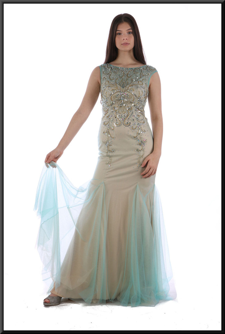 Full length slim fit pale gold evening dress in polyester with pale sea green net flares