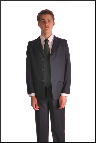 Teenage boy's s/b machine washable suit with blue satinette lining, age 14, estimated 30 28 estimated 29 - navy blue pinstripe