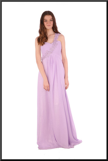 """Full length single embellished strap chiffon over satinette full evening dress - lilac, size 10/12. Model height 5'7"""""""