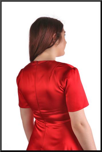 "Slightly Spanish style variable length hemline satinette cocktail dress – marked US / EU medium, red, size 12, model height 5'7"""