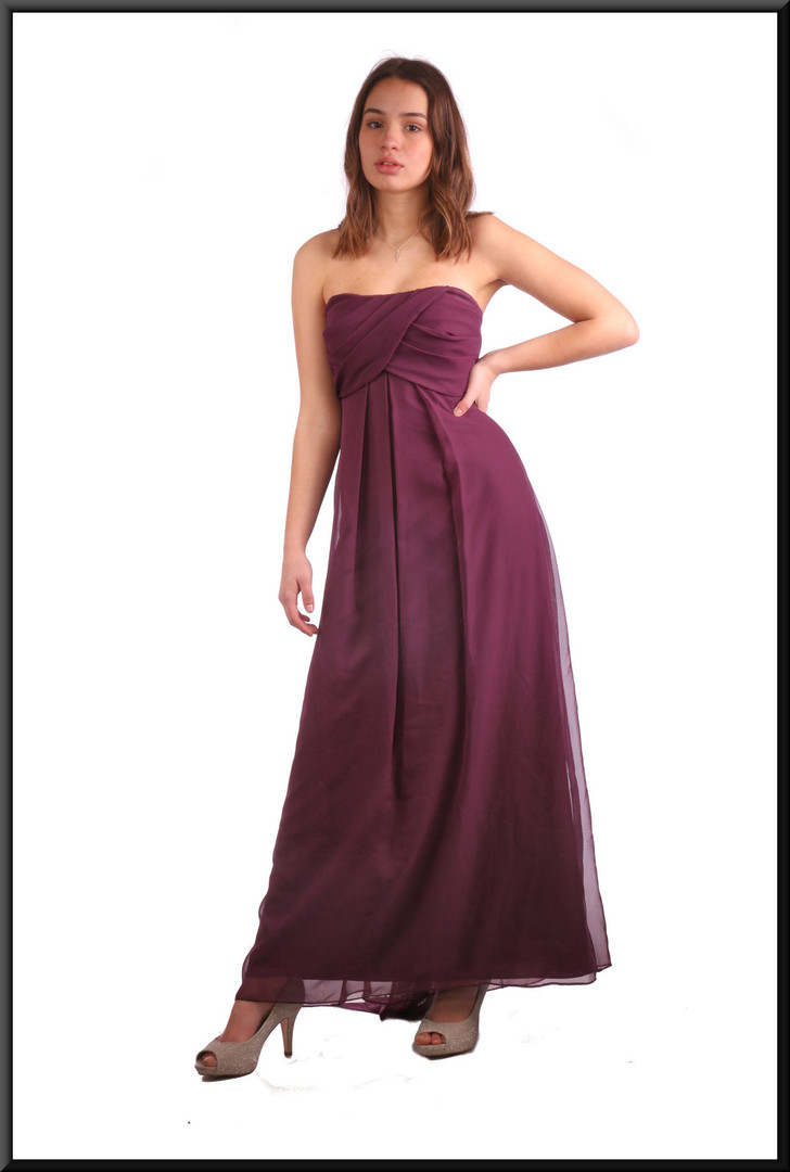 Ankle length double layer net over satinette evening dress with long tie - plum; model height 5'7""