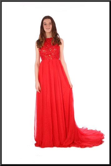 """Full length chiffon over satinette backless evening dress with beaded bodice - red, size 8. Model height 5'7"""""""