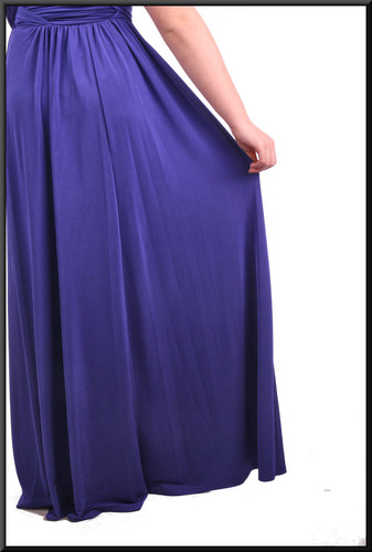 """Multi-use long ties over an otherwise strapless full-length evening dress - royal blue, size 10. Model height 5'4"""""""