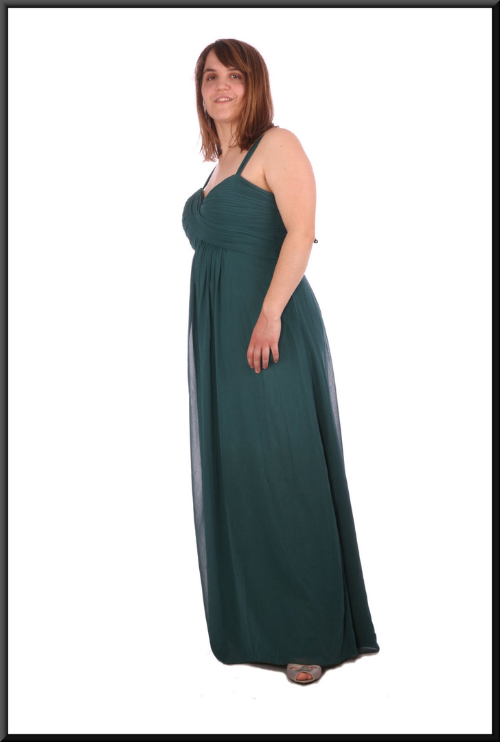 Full length evening dress chiffon over satinette - bottle green, size 14 / 16; model height 5'4""