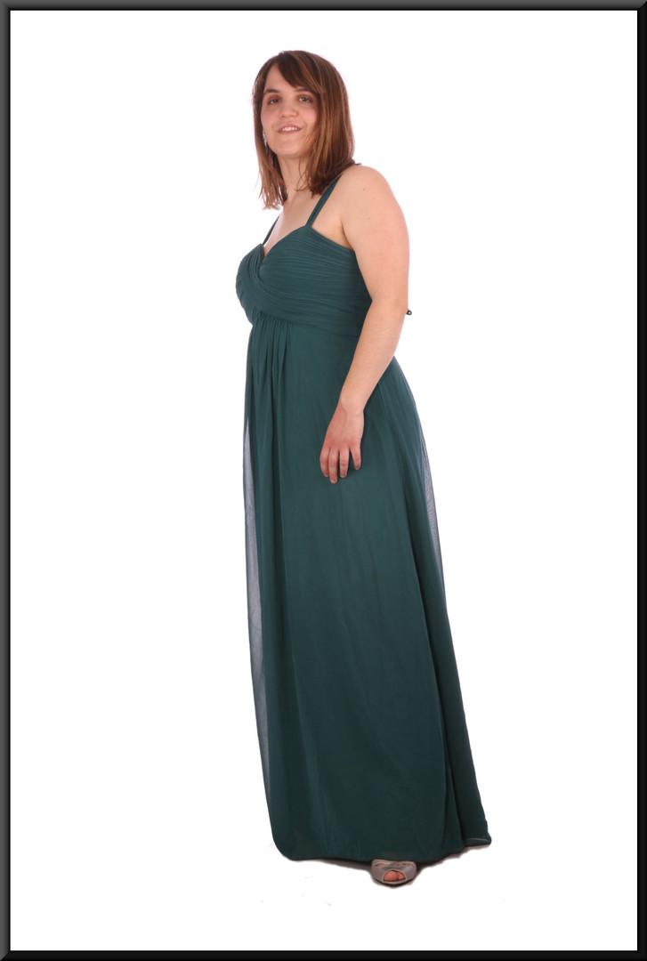"""Full length evening dress chiffon over satinette - bottle green, size 14 / 16; model height 5'4"""""""