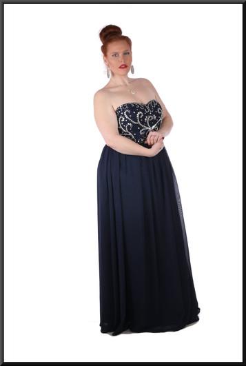 Strapless full length, full skirt, petticoats, corset rear ties - navy blue