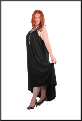 Cotton maxi-dress with embroidered neckline and variable length hemline, black, size 22, model height 5'7""