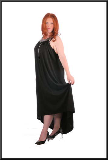 """Cotton maxi-dress with embroidered neckline and variable length hemline, black, size 22, model height 5'7"""""""