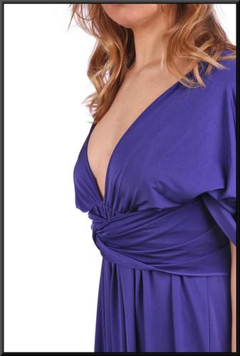 "Slimline backless satinette felt evening dress - dark royal blue, size 8. Model height 5'3"""