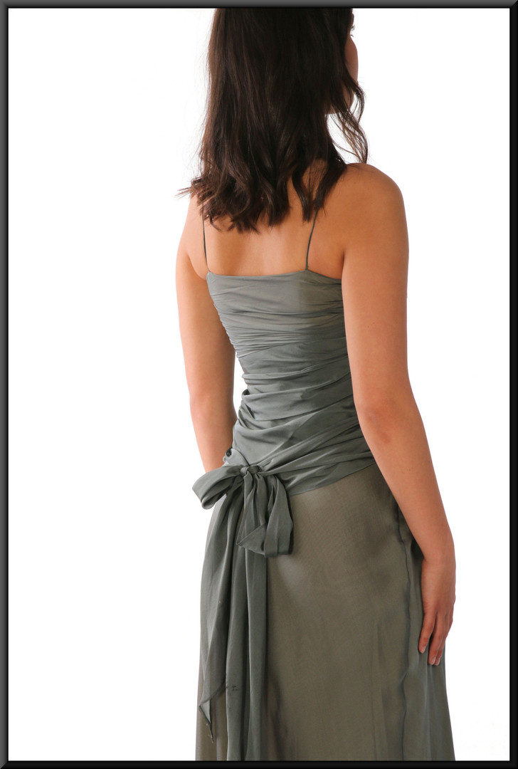 "Calf length lady's evening party dress EU 34, grey-green, size 8, model height 5'7"""
