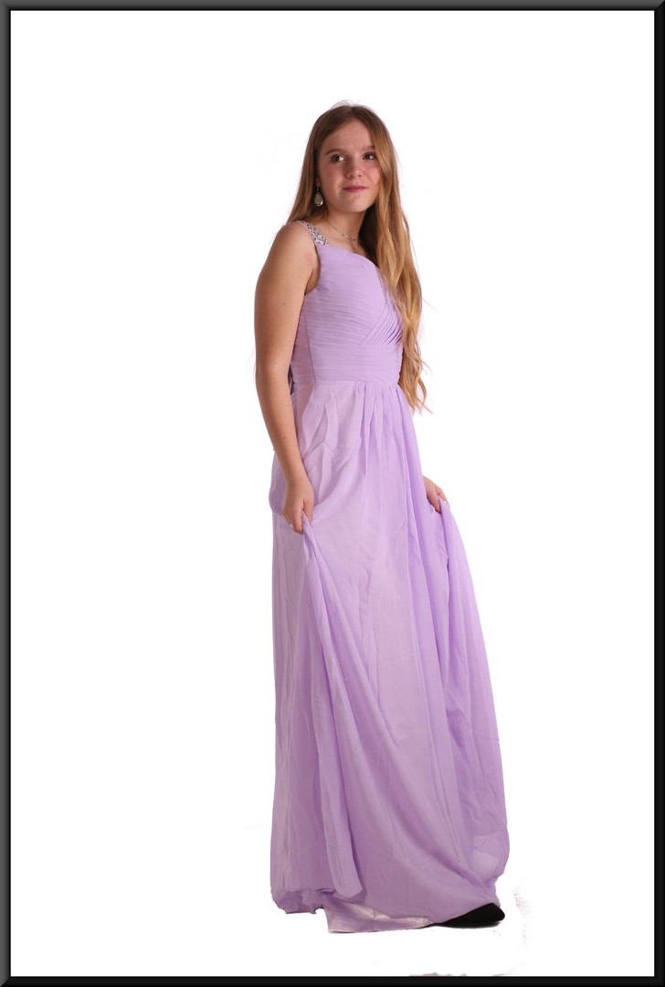 Full length polyester chiffon bridesmaid dress with satin underskirt and rear bow - lilac