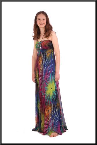 "Boho / Woodstock style calf length chiffon over satinette summer cocktail dress - multicoloured, size 8; model height 5'6"""