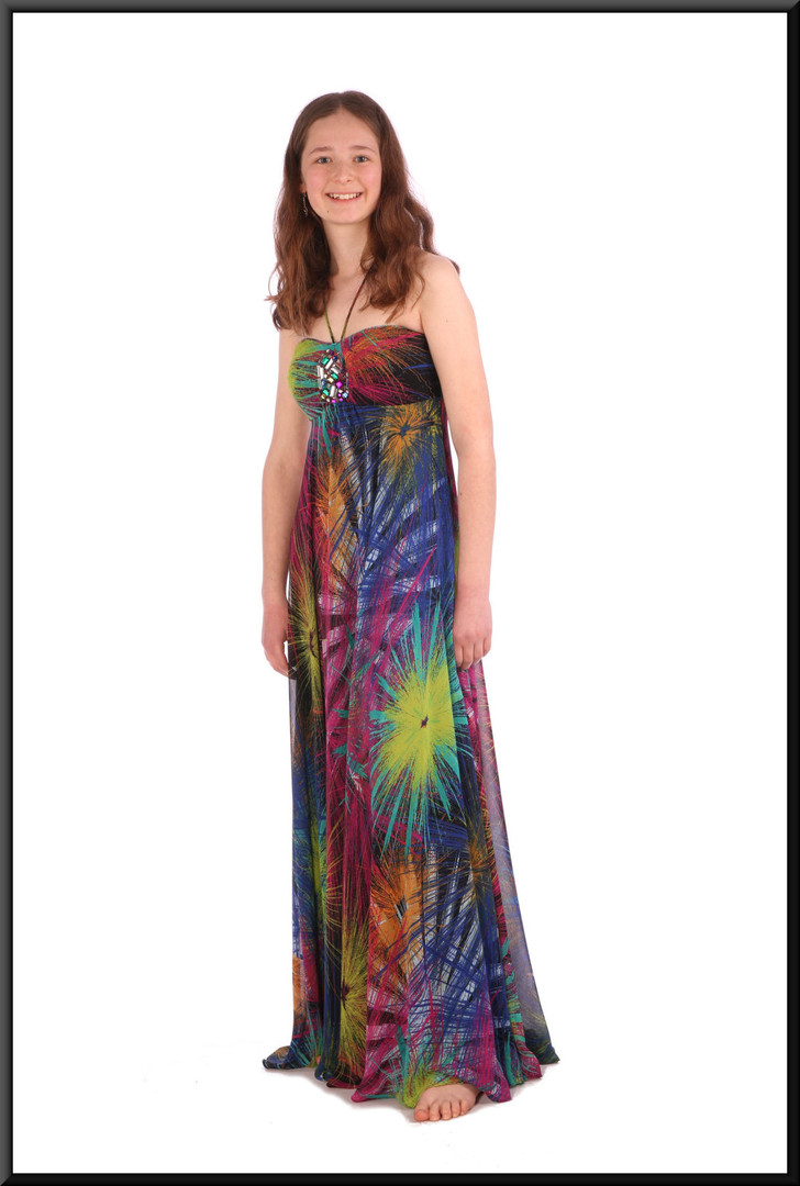 Boho / Woodstock style calf length chiffon over satinette summer cocktail dress - multicoloured, size 8; model height 5'6""