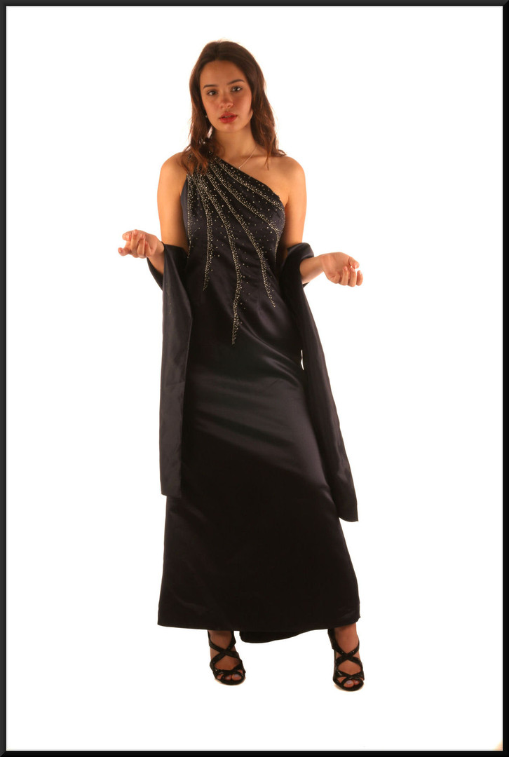 "Ankle length single strap satinette evening dress, diamanté decor,matching shrug, dark royal blue, size 10 / 12, model height 5'7"""