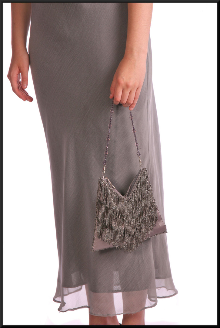 Twenties style calf length party / cocktail dress with beaded embellishments and matching beaded bag, mid grey, size 12, model height 5'10""