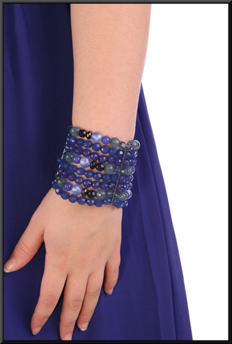 Bead elasticated  bracelet illustrated with evening dress cat. no. 201