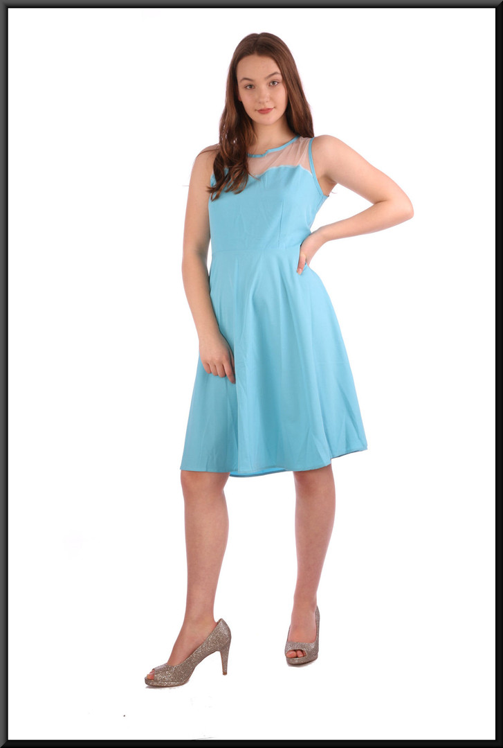 Simple summer cocktail mini dress with translucent panel above bust - pale turquoise, size 12.  Model height 5'7""