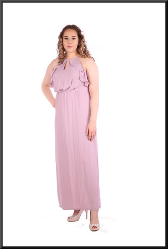 Calf length slit side 100% polyester dress with embellished bodice - lilac