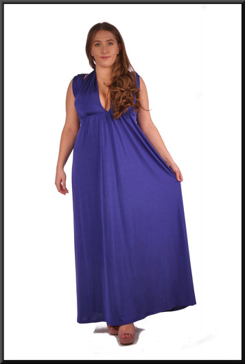 """Full length chiffon evening dress with multi-option drapes; bandeau also available not illustrated, blue, size 14. Model height 5'4"""""""