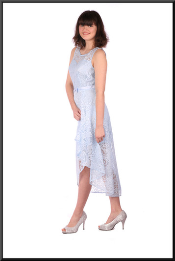 Size 10 / 12 net variable length cocktail / party dress over satin mini skirt, pale blue