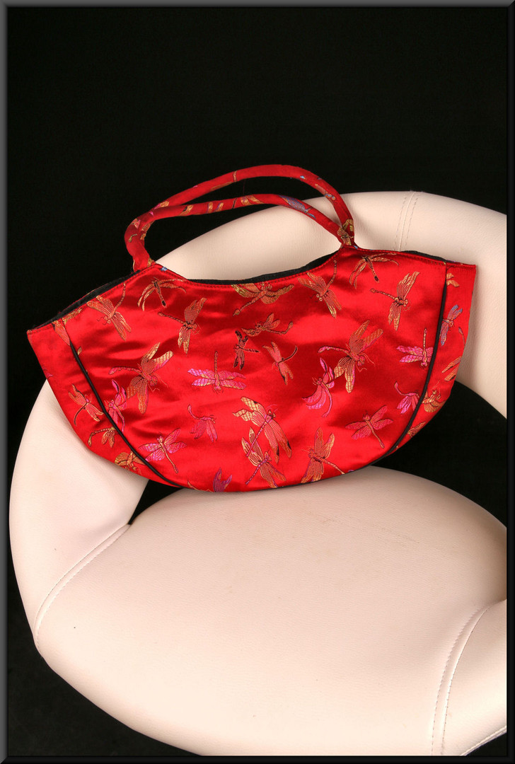 Chinese style scarlet satinette handbag with dragonfly pattern and embroidered black panels