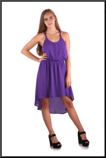 """Beach party"" style lightweight cocktail / party dress with variable length hemline, mauve, size 8 / 10, model height 5'2"""