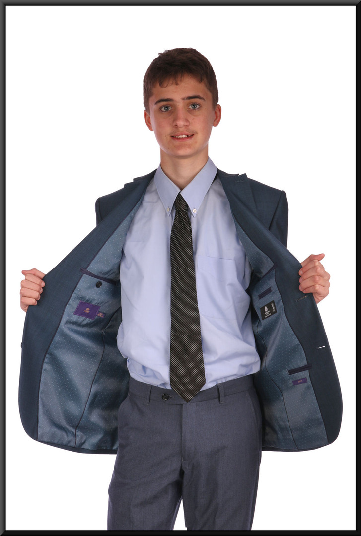 "Jacket only – dark cobalt blue jacket chest 38 regular. Model height 6'0"""