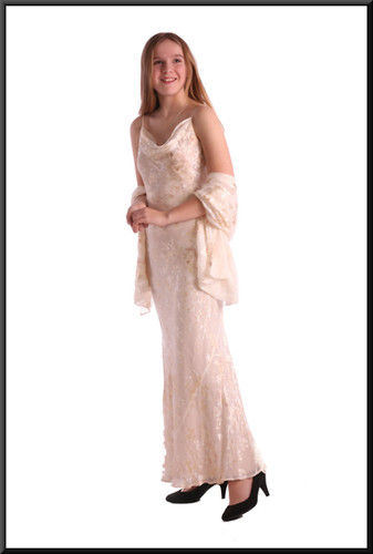 Crochet/lace pattern full length with stole - ivory