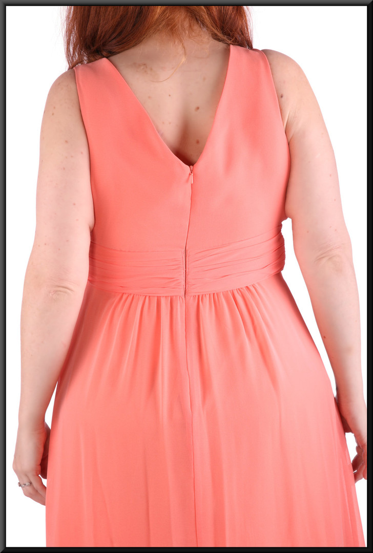 """Chiffon ankle length evening / party dress with satinette lining, pink, size 14 / 16, model height 5'7"""""""