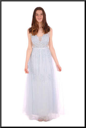 Full length floral embellishment chiffon over satinette evening dress with translucent panels - pale blue, size 12; model height 5'7""